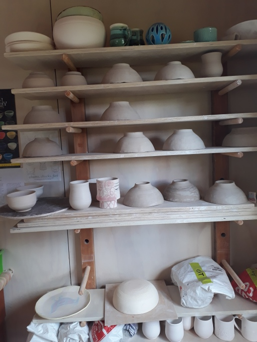 Halfway through term .Studients work ready for first firing!
